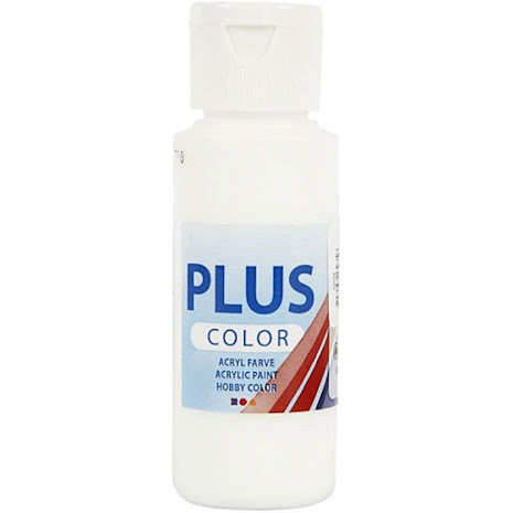 Hobbyfärg Plus color - vit, 60 ml