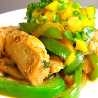 Spicy Coconut Chicken With Mango Basil Salsa.