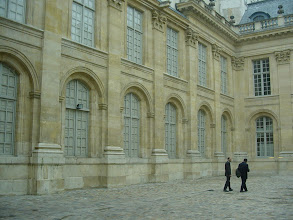 """Photo: Now at 69-71 Rue du Temple, and L'Hotel de St-Aignan, a townhouse now being converted to a museum. The windows on three sides, as shown at the far right, are real. However, the southern wings """"windows"""" are covered, since behind them is the Wall, which the building's architect did not tear down, but simply incorporated in the structure."""