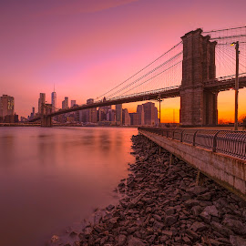 by Gordon Koh - Buildings & Architecture Bridges & Suspended Structures ( brooklyn, night, nightscape, manhattan, cityscape, manhattan skyline, bridge, long exposure, brooklyn bridge, new york, blue hour, architecture )