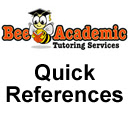Quick References by Bee Academic Tutoring