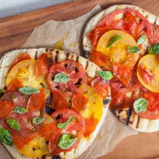 Grilled Tomato and Pepperoni Pizzas.
