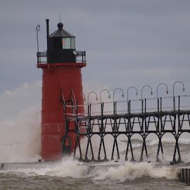 South Haven Lighthouse by Jennifer Carnahan - Buildings & Architecture Other Exteriors ( waves, lighthouse, michigan, beach, south haven,  )