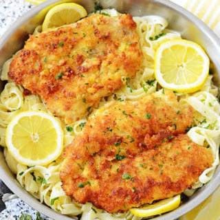 Romano Chicken with Lemon Garlic Pasta