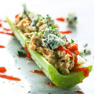 Sriracha Salmon and Bleu Cheese Stuffed Celery.