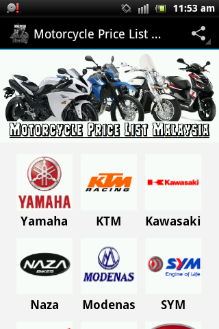 Motorcycle Price List Malaysia