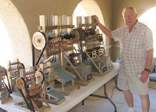 Photo: Morris Jackson displayed and sold models of the ten, five and three stamp mills he built. (Jackie Ridge)