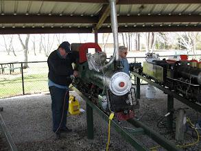 Photo: Pete Green making steam up preparations.  HALS 2009-0228