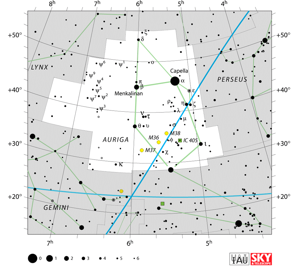 auriga constellation,star map,star chart