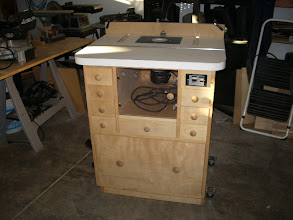 "Photo: I modified the plans a bit to better suit me. The cabinet is 28""w x 38""h x 24""d, and topped by a 32""w x 26""d x 1 1/2"" thick top."