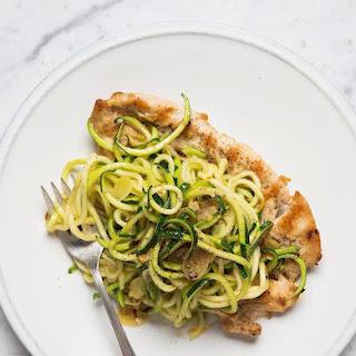 Chicken Paillard with Zucchini Noodles.