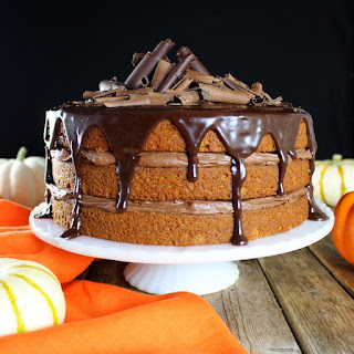 Pumpkin Chocolate Ganache Cake #SundaySupper