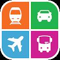 train, bus, covoiturage, avion icon