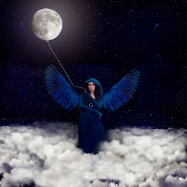 Hanging the Moon by Chrystal Olivero - Digital Art People ( clouds, moon, blue, wings, fine art, conceptual, portrait, manipulation,  )