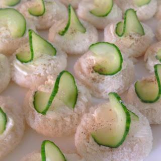 Curly Cucumber Cream Cheese Bites