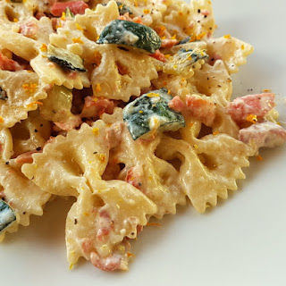 Farfalle Pasta With Smoked Salmon And Zucchini.