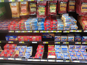 Photo: There were several types of cheese to choose from - blocks of cheese, shredded cheese, deli-style slices, and individually wrapped slices. I decided to stick with what I know works great for grilled cheese - individually wrapped slices.