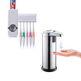 Dozator de sapun + Dozator pasta de dinti cu suport de periute