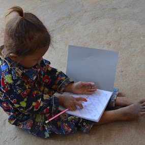 Teach Me How To Write, Please! by Azzah Rahman - Babies & Children Children Candids ( kampong cham, little girl, third world country, cambodian, education, cambodia )