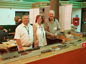 Photo: 008 Peter and Birgit Martin, with their assistant operator: Continental Modeller Editor Andrew Burnham, with Peter's HOn3 (10.5mm gauge) DCC layout: Crock, Colorado, which has made considerable progress since it was last featured in my report from Ilton in January this year .