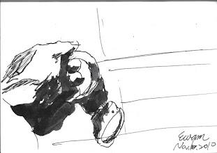 Photo: 梏2010.11.10鋼筆 自由就在戒具一重一重禁錮下,一點一點被剝奪…