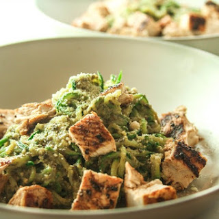 Avocado Pesto with Zucchini Pasta.