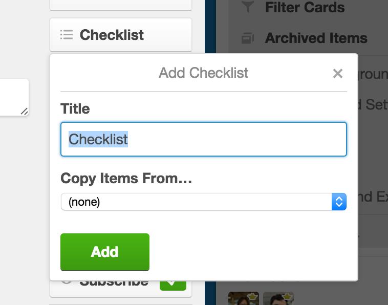 Criação de Checklist no Trello