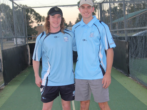 Narrabri cricketers Coby Cornish and Ryan Meppem.