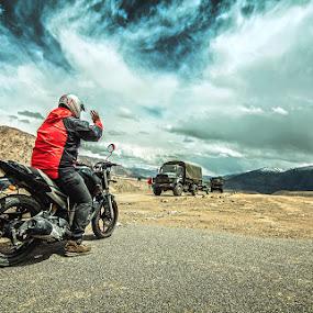 INDIAN ARMY & BIKER by Inderjit Singh - Landscapes Mountains & Hills ( leh, inderanim, ladakh, landscapes, hues )