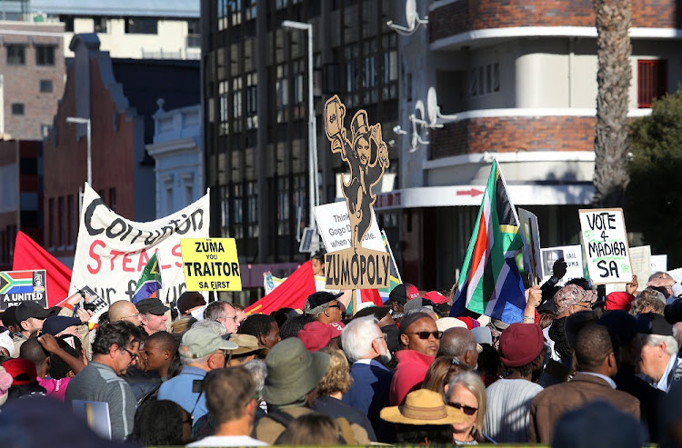 Protesters outside Parliament in Cape Town on Tuesday. Picture: RUVAN BOSHOFF