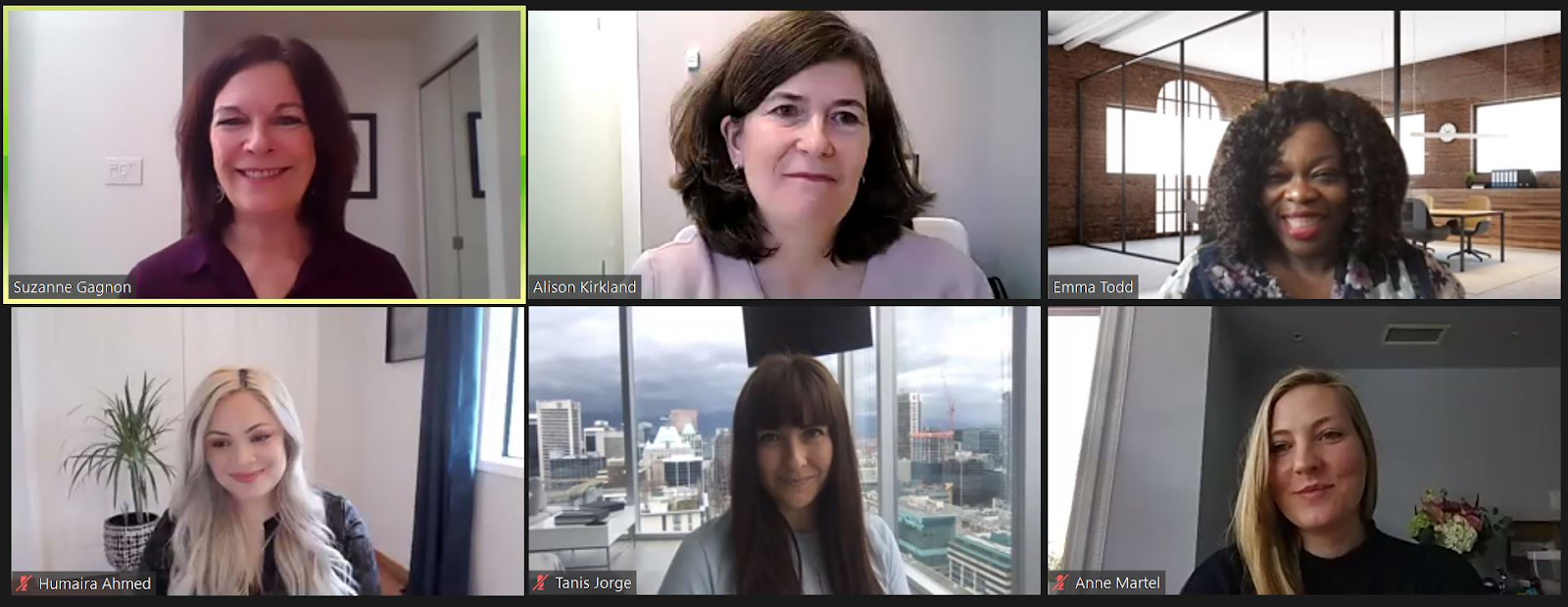 A screenshot taken during the panel discussion featuring Suzanne Gagnon, Alison Kirkland, Emma Todd, Humaira Ahmed, Tanis Jorge, and Anne Martel