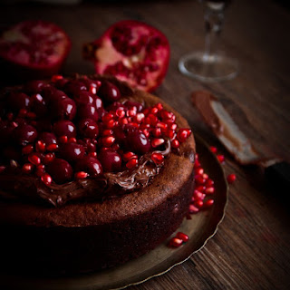 Eva's Chocolate Cake with Ground Walnuts and Cherries
