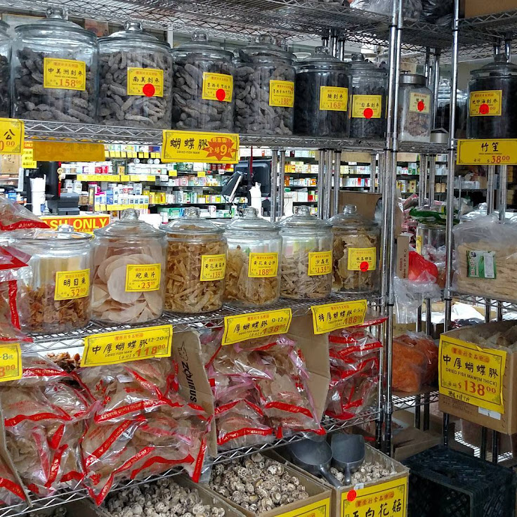Shelves of dried goodies at Po Wing Hong.