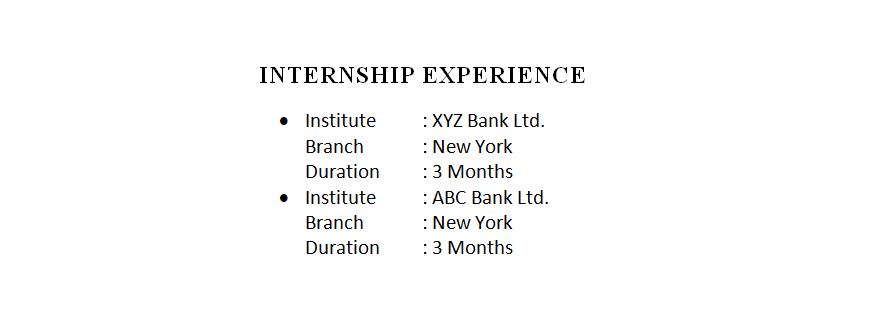 Internship Experiences in Resume