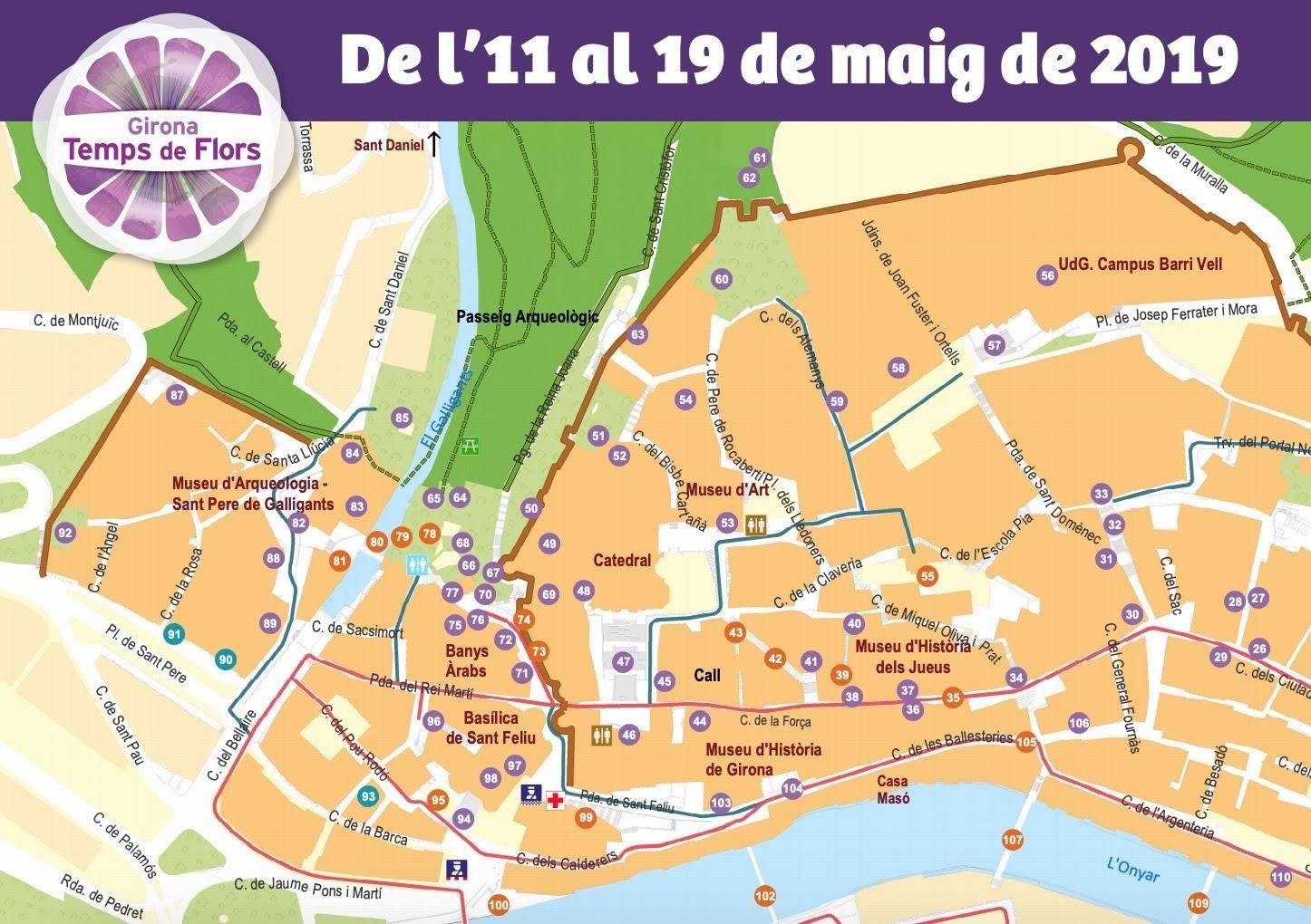 Mapa Temps de Flors 2019. Girona.