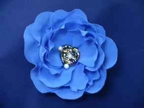Photo: Цветы из ткани - Сдержанно-голубой...