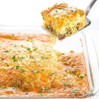 Low Carb Breakfast Casserole with Sausage & Cheese (Gluten-free).