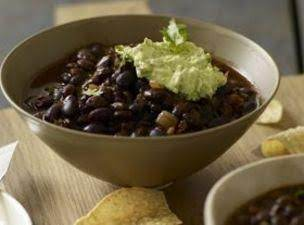 Black Bean And Chorizo Chili W Cilantro Cream Sauc