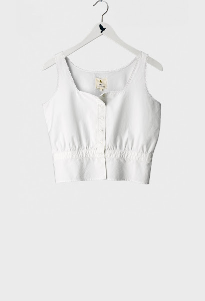 Photo: The MiH Jeans Milkmaid Top in Crisp White. Shop this style http://www.mih-jeans.com/chloe-lonsdale-picks/the-milkmaid-top-crisp-white.html