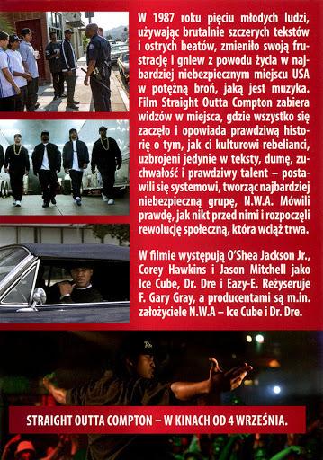 Tył ulotki filmu 'Straight Outta Compton'
