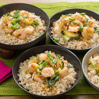 Stir-Fried Orange Shrimp with Baby Bok Choy, Brown Rice & Cashews.