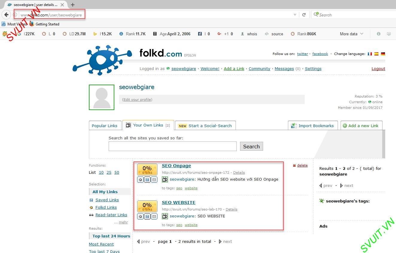 Backlink trên Folkd.com 9
