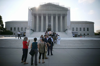 Photo: WASHINGTON, DC - JUNE 24: People wait to enter the U.S. Supreme Court building June 24, 2013 in Washington DC. The high court may rule on several cases including Hollingsworth v. Perry which challenges California's Proposition 8, a ban on same sex marriage.  (Photo by Mark Wilson/Getty Images)