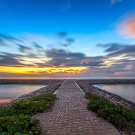 Welcoming Sunrise by Rio Tanusudiro - Landscapes Beaches ( bali, sky, dawn, color, travel, sunrise, beach, morning, light )