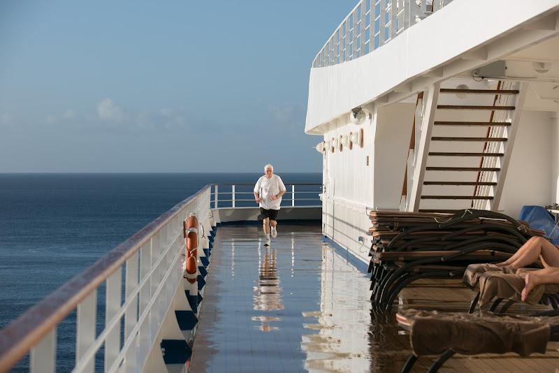 Keeping fit and getting plenty of morning sunshine on the main deck of Silver Spirit.