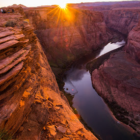 Colorado River by Photoxor AU - Landscapes Caves & Formations ( reflection, colorado river, page, sunset, arizona, horseshoe bend, rocks, formation, river,  )
