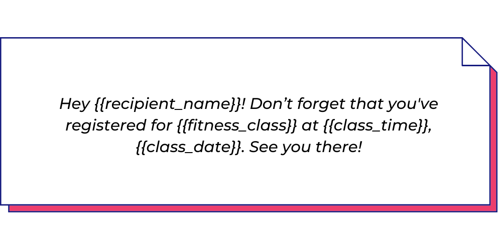 Use this fitness WhatsApp template to send class reminder messages.