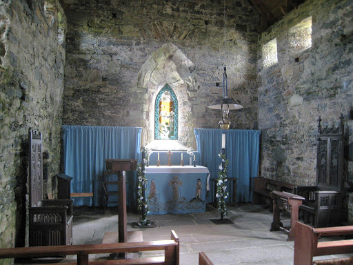 The interior of the 13th century church St Moluag's on the Isle of Lewis in Scotland.