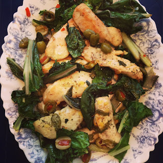 Lemon Zesty Chicken With Olives, Basil, & Swiss Chard
