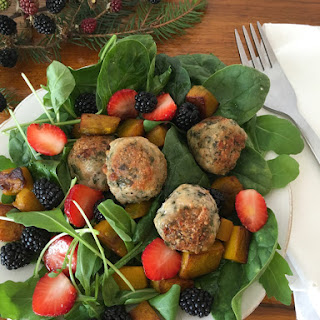 Basil and Chicken Meatballs with an Autumn Welcome Salad